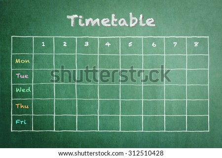 School timetable on green chalkboard background with day and number of study session and blank copy space to fill in courses: Blackboard with fillable class planner and pastel chalk handwriting