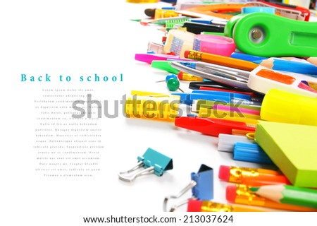 School tools and accessories on white background. With your place for the text. - stock photo