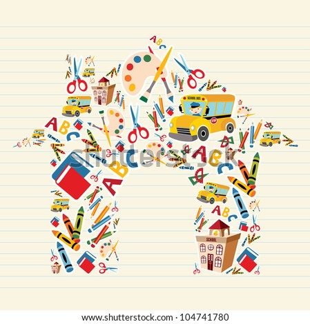 School tools and Supplies set in house shape background. - stock photo