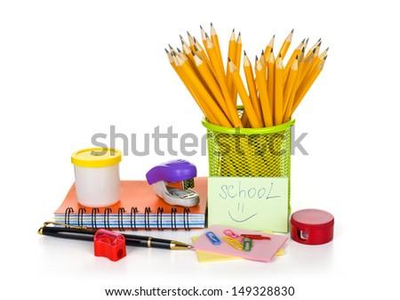 school tools isolated on white - stock photo