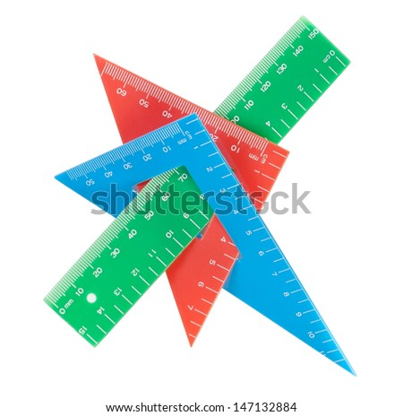 School tools multicolored triangle, ruler, protractor. Close-up. - stock photo