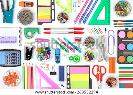 school tools on white background top view - stock photo