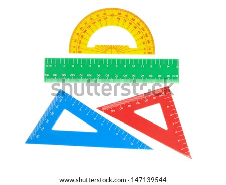 School tools triangle, ruler, protractor. Close-up. - stock photo