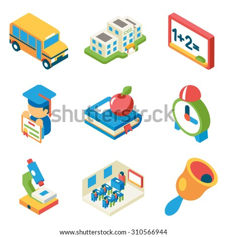 School, university and education isometric 3d flat icons. Bus and building and microscope, diploma and bell, book and apple - stock photo