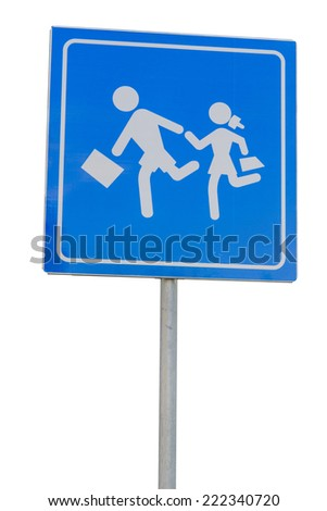 School warning sign, children on road. Isolated on white with clipping path. - stock photo