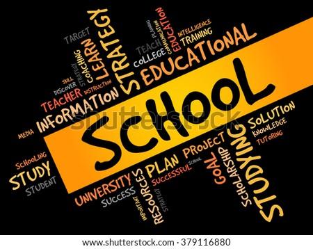SCHOOL word cloud, education concept - stock photo