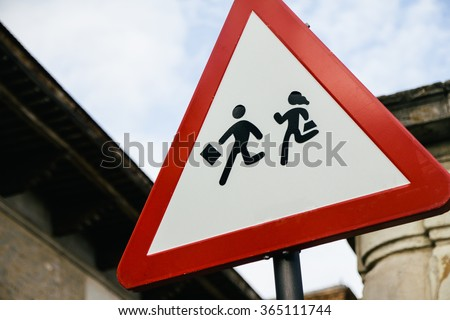 School zone road sign - stock photo