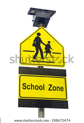 School zone sign isolated on white - stock photo