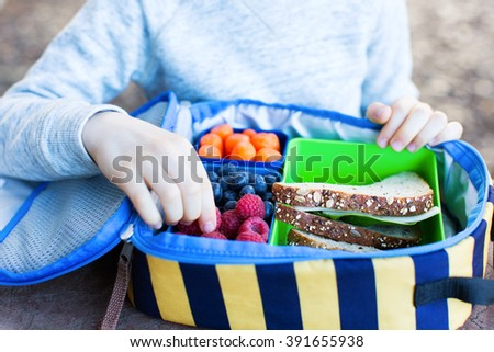schoolboy enjoying recess and healthy lunch - stock photo