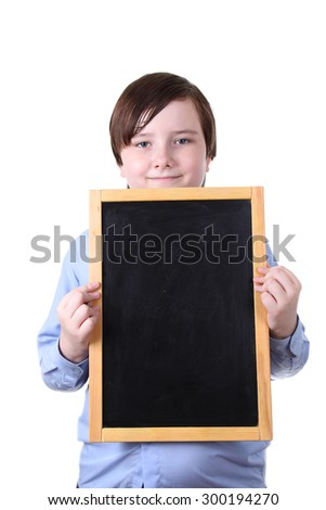 Schoolboy holding board isolated on white background - stock photo