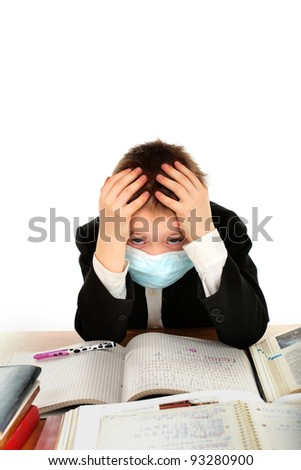 schoolboy in flu mask isolated on the white - stock photo