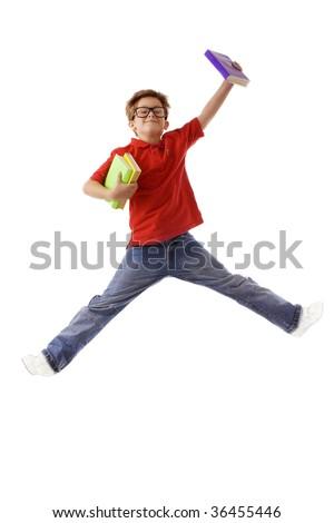 schoolboy in jump - stock photo