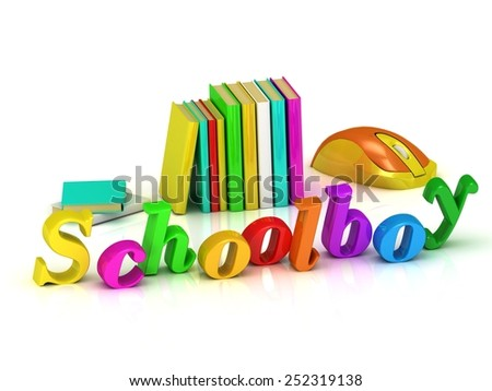 Schoolboy inscription bright volume letter and textbooks and computer mouse on white background - stock photo