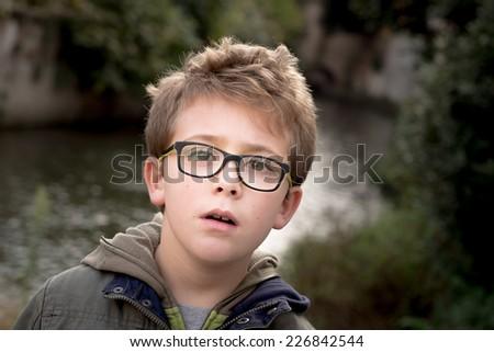 Schoolboy Outdoor Portrait - stock photo