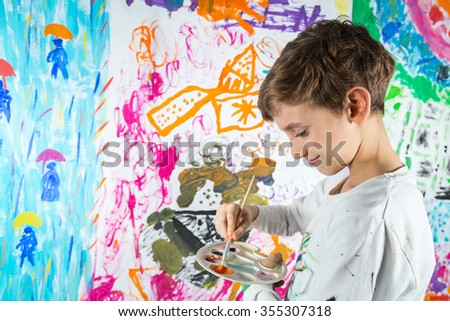 Schoolboy painting