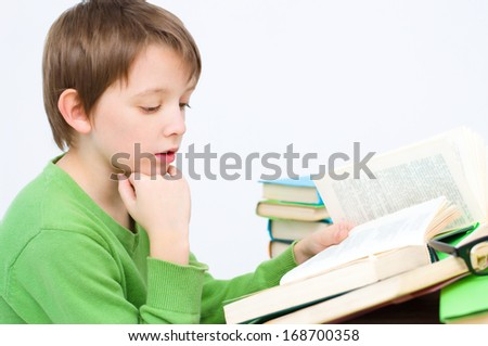 schoolboy reading a book - stock photo