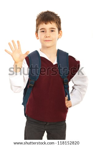 Schoolboy showing five fingers isolated on white background - stock photo