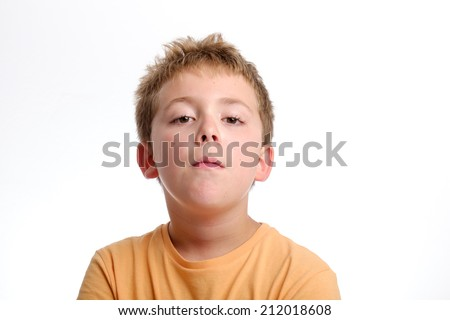 Schoolboy studio portrait - stock photo