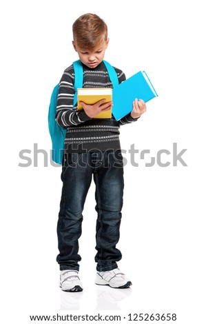 Schoolboy with backpack and books isolated on white background - stock photo