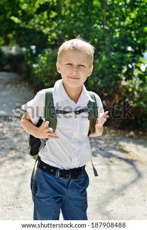 schoolboy with backpack on the street