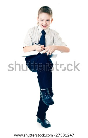 schoolboy  with book on white background