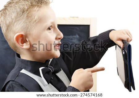 schoolboy with tablet