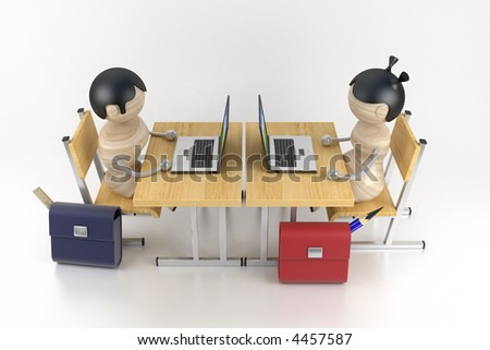 Schoolboys are in a class. Lesson of programming. 3d model - stock photo