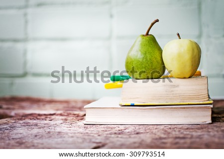 Schoolchild and student studies accessories. Back to school concept - stock photo