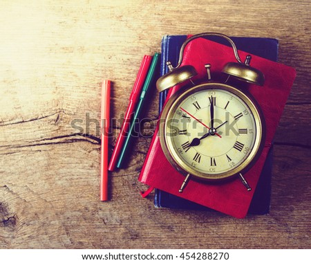 Schoolchild and student studies accessories. Back to school concept. - stock photo