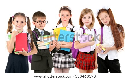 Schoolchilds, isolated on white