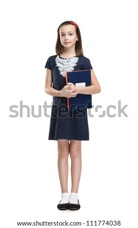 Schoolgirl carries her books, isolated, white background - stock photo