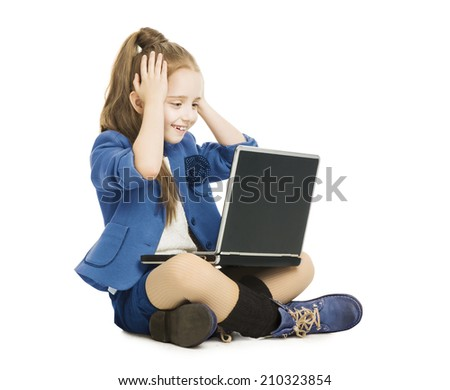 Schoolgirl child looking at computer. school girl with notebook laptop, hand on head, isolated white background - stock photo