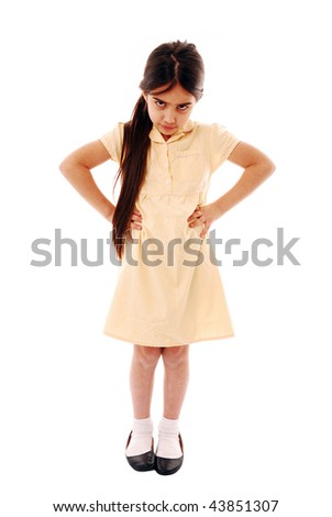 Schoolgirl who does not want to go to school isolated on white