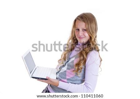 Schoolgirl with her white netbook - stock photo