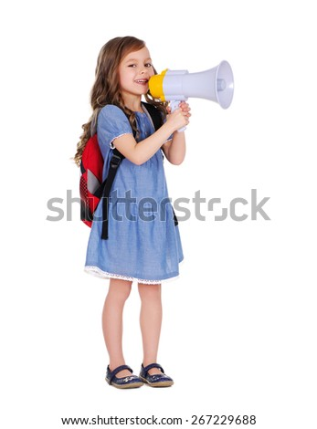 schoolgirl with loudspeaker in hands - stock photo