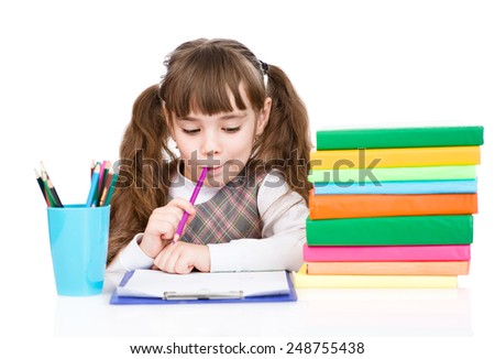 schoolgirl write test. isolated on white background