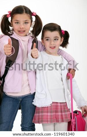 Schoolgirls - stock photo