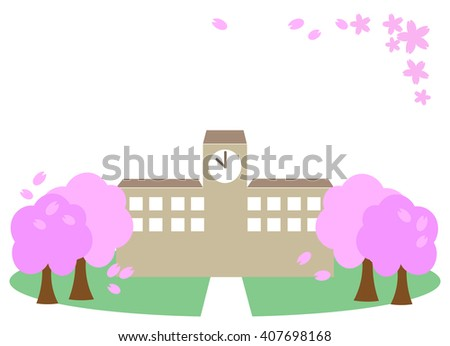 schoolhouse,cherry blossoms,icon