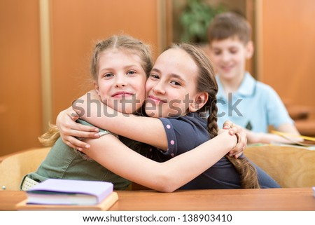 schoolkids at lesson break - stock photo
