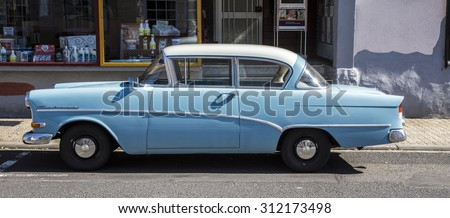 SCHOTTEN, GERMANY -AUG 30, 2015: old Opel Rekord parks at a street in Schotten, Germany. The car was first built in 1953 and sold more than 10 mio times.