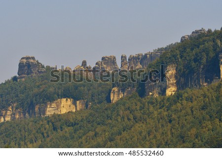 Schrammsteine in Saxon switzerland in the morning.