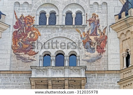 SCHWANGAU, GERMANY - AUGUST 11, 2015: Wall painting from the inner courtyard of Neuschwanstein castle, one of the most popular tourist destinations in Europe. - stock photo