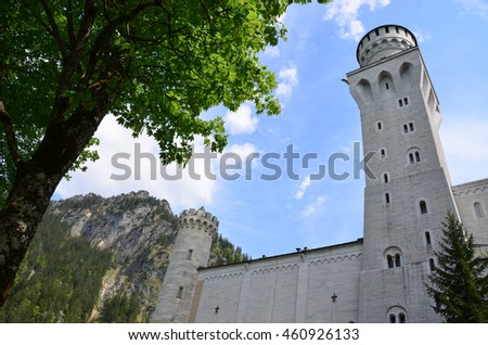Schwangau, Germany - May 26 2016: View of the Neuschwanstein Castle in Alps