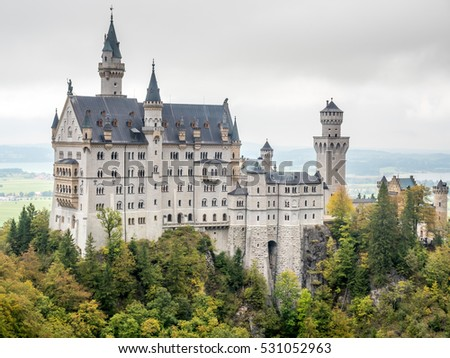 SCHWANGAU - OCTOBER 11: Neuschwanstein castle is the most famous beautiful castle in Schwangau, Germany, inspiration for Disneyland's sleeping beauty castle, on October 11, 2016.