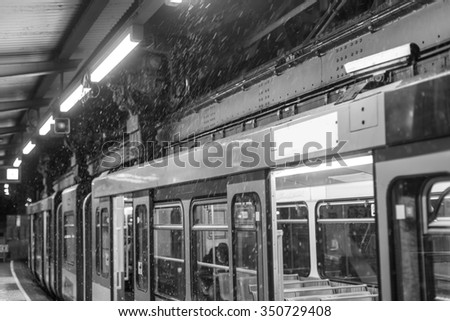 schwebebahn train wuppertal germany on a winter evening black and white