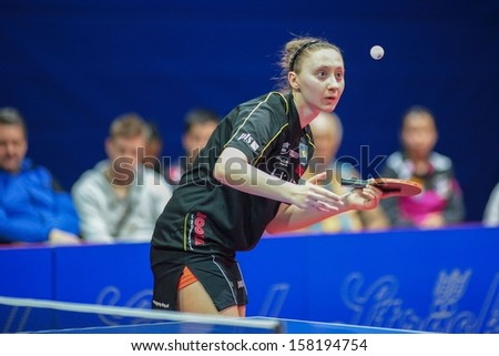 SCHWECHAT, AUSTRIA - FEBRUARY 8 Sofia Polcanova (Linz AG Froschberg) loses the first game in the ETTU semifinals on February 8, 2013 in Schwechat, Austria.