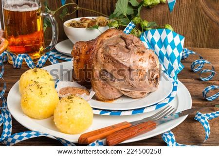 Schweinshaxe - pork knuckle on Bavarian - stock photo