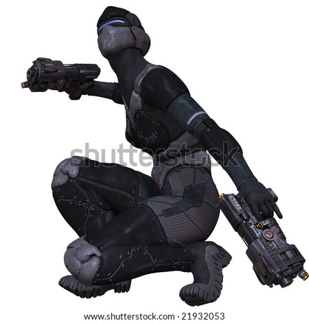 Sci-Fi Character Posing with guns - stock photo