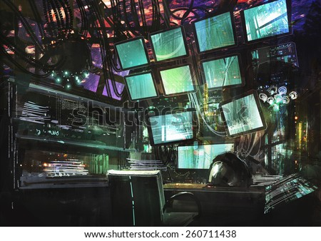 sci fi creative workspace.digital painting - stock photo