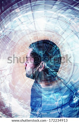 sci-fi double exposure man portrait and future abstract elements